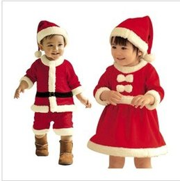Wholesale Santa Claus Costume Boys - eClouds newborn baby clothes bebe baby girls and boys clothes Christmas Santa Claus costume with hat winter