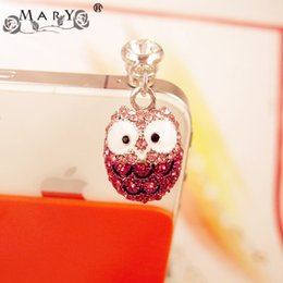 Wholesale Iphone Accessories Headphones - Wholesale-Lovers Rhinestone Owl 3.5mm Dust Plug for iPhone Samsung Earphone Jack Plug Headphone Plugs Anti Dust Plug Phone Accessories