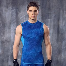 Wholesale Blue Lights For Fish Tanks - Men's Fish-scale pattern Tight-fitting Sports Gym Tank Tops Body Shapers For Men Workout Bodybuilding Fitness Running Training Stretch Vests