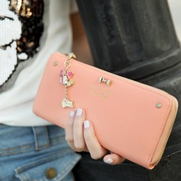 Wholesale Ladies Wallets Butterflies - 2016 Korean version of the New Diamond Butterfly Knot Pendant Long Wallet female Money Wallet PU material