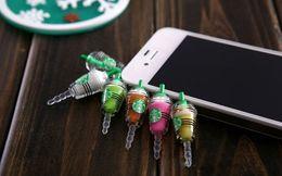 Wholesale Earphone Mm Plug - New fashion Starbuck Anti Dust Plug minipol earphone jack plugs for cell phone Headset Stopper cap 3.5 MM Universal