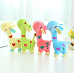 Wholesale baby dear dolls - 18cm 4 colors Unisex Cute Gift Plush Giraffe Soft Toy Animal Dear Doll Baby Kid Child Girls Christmas Birthday Happy Colorful Gifts