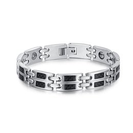 Wholesale Carbon Elements - Fashion Men Stainless Steel Black Carbon Fiber Magnetic Element Power Bracelet for Health Silver Polished Bracelet B837S