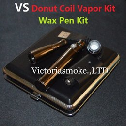 Wholesale Vaping Cases - Newest VS Wax Vapen Pen Kit Donut Coils Donut Ceramic Coils 650mAh battery black nickel with mini metal case vaping wax kit eCigs