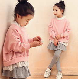 Wholesale Girls Nice Tops - Children's Clothing 2016 New Fashion Korean Child Suits Girls Long Sleeved Tops + Pantskirt 2pcs Clothing Sets Baby Girls Nice Outfits 9395