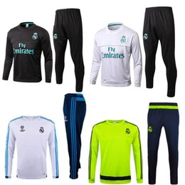 Wholesale Tracksuits Men Soccer - Soccer tracksuits 2017 Best quality survetement football Marseille Real Madrid training suit sweat top chandal soccer jogging football pant