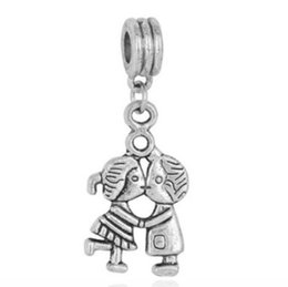 Wholesale Pandora Dangle Girl Charm - Fits Pandora Bracelets 10pcs Boys and girls kiss Dangle Charm Beads Silver Charms Bead For Wholesale European Necklace Jewelry Accessori