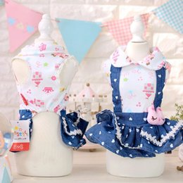 Wholesale Princess Chihuahua - Rabbit summer dog dress Lovely Dog puppy denim dress dog cat pet Tutu skirt Princess wedding Dress chihuahua Yorkshire clothes