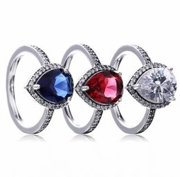 Wholesale Finger Ring Diy - TopeasyJewelry Radiant Teardrop Ring, Clear CZ Rings 925 Sterling-Silver-Jewelry Big Stone Finger Ring Engagement Party Diy Accessories