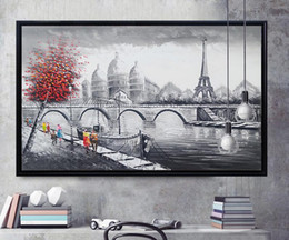 Wholesale Paintings Canvas Paris - Handmade Wall Art Decor Oil painting Paris Romance Couple Picture Hand Painted Modern Abstract Oil Painting on Canvas for Home