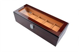 Wholesale Grid Watch Display Case Box - Watch Box Luxury Solid Wood Rosewood Watch Box 5 Grids Watch Case Display Packaging Gift High Quality Box for Watches