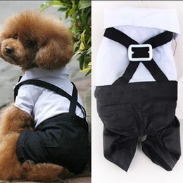 Wholesale Dog Bow Ties For Weddings - 2016 Western Style For Pet Dog Clothes Vest T Shirt Wedding Dog Suit & Bow Tie Puppy Pet Clothes For Dog Costume Apparel S-XXL
