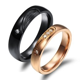 Wholesale Cheap Band Rings Stones - 2016 Classic 316L Stainless Steel Black&Gold Half Heart Simple Circle Real Love Crystal Stone Finger Bands Jewelry Cheap Price