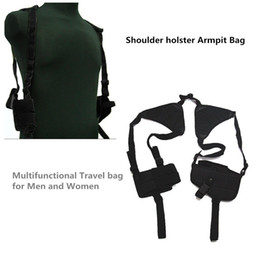 Wholesale Guns Hunting Bags - Adjustable Outdoor Anti-theft Hidden Underarm Tactical Harness Phone Gun Nylon Shoulder Holster Armpit Bag for Gun