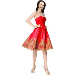 Encaje de oro Vestidos de Fiesta Cortos Novia Hasta la rodilla Corsé simple Baile de graduación Vestidos de fiesta Vestidos baratos 2019 Vestidos De Fiesta Rosa desde fabricantes