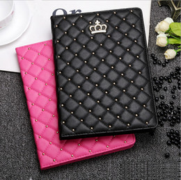 Wholesale Animal Cases For Tablets - Luxury Rhinestone Crown PU Leather Tablet case for iPad 2 3 4 5 6 IPAD mini 1 2 3 ipad mini4 with stand shockproof Dormancy Cover cases
