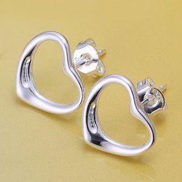Wholesale Vintage Ruby Stud Earrings - New vintage 2016 New Top Quality Silver Plated & Stamped 925 earrings open sweet heart Stud earrings for women lady gift hook
