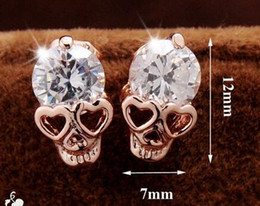 Wholesale Dangle Cz Earring - Valentine's Day Trendy Earrings For Women's Girl's 18k Yellow Gold Plated CZ Diamond Skull Pierced Stud Earrings Jewelry Gift