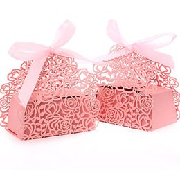 Wholesale Bridal Shower Paper - 100 Pack Roses Flowers Laser Cut Favor Candy Box Bomboniere with Ribbons Bridal Shower Wedding Party Favors