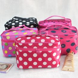 Wholesale Cheap Makeup Bags Cases - DHL free New Arrival dot cosmetic makeup bags cases boxes cheap Womens Makeup bags large capacity portable storage travel make up bags cases
