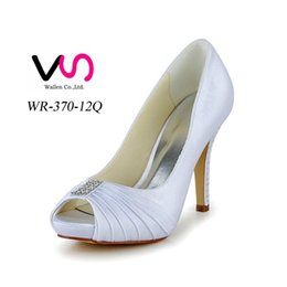 Wholesale China Heels Cheap - Free shipping cheap price ivory hot sell wedding shoes high heel pleated upper shoes party evening shoes bridal wedding shoes made in China
