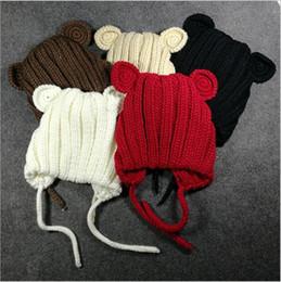 Wholesale Crocheted Bear - Baby Hats Bear Ear Knit Cap Toddler Wool Beanie Winter Skull Caps Outdoor Casual Hats Fashion Caps Girls Beanie Xmas Headwear Caps B3445