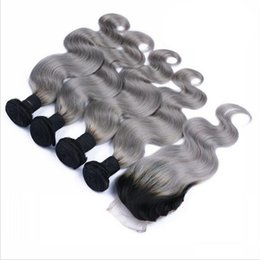 Wholesale Two Toned Lace Top Closure - 9A Malaysian Sliver Grey Ombre Hair 4 Bundles With 4*4 Lace Top Closure Gray Dark Roots Ombre Two Tone Human Hair Body Wave