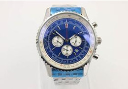 Wholesale Hkpost Watch - Hot Sale Brand Quartz Watch For Men Blue Dial Fluted Case Stainless Belt Silver Skeleton 1884 Chronometer Watch Free Shipping HKpost