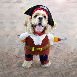 Wholesale Halloween Costume Pirate Plus - Dog Costume Pet Clothes Caribbean Pirate Suit Corsair Dressing up Party Apparel Clothing for Dogs plus Hat S-XL