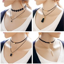 Wholesale Wholesale Leather Lace For Jewelry - Simple Fashion Jewelry Gold Plated Pendant Double Black Leather Lace Choker Necklaces & Pendants For Women Gothic Collares