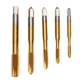 Wholesale Drill Point Set - 5pcs HSS Titanium Machine Right Hand Tap Drill 3 Flute M3 M4 M5 M6 M8 Spiral Point Thread Plug Handle Taps Die Set