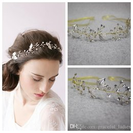 Wholesale Transparent Silk Flowers - Exquiste Crystals Headband Hair Accessories Tiaras For Wedding Brides Silver Leaves Transparent Bridal Jewelry For Hair Clasp
