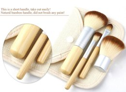 Wholesale Make Up Brush Set Bamboo - 100pcs Makeup Brushes 4Pcs 4 pcs Set Kit Beautiful Professional Bamboo Elaborate make Up brush Tools With Case zipper bag button bag