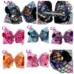 Wholesale Handmade Girls Hair Bows - Mermaid Hair Accessories Clips For Kids Girls Handmade Fish Scales Bows Hairgrips Hair Bow 8 Inch KKA3596