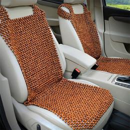 Enfriamiento del asiento online-Cojín de cojín de asiento de bolas de madera natural para el coche Cojín de confort premium de lujo reduce la fatiga del automóvil o camión o asiento de oficina