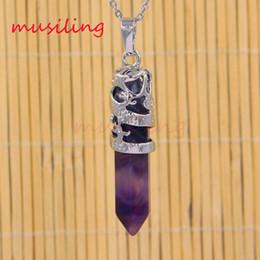 Wholesale Black Onyx Silver Jewelry - Natural Stone Dragon Hexagon Prism Pendants Pendulum Silver Plated Onyx Amethyst etc Mascot Reiki Stone Charms Amulet European Mens Jewelry