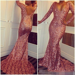 Wholesale Sparkle Sleeve Short Prom Dress - Rose Pink Sequined Cheap Mermaid Prom Dresses 2016 Scoop Neck Long Sleeves Sexy Low Back Sparkling Evening Dresses Sweep Train Custom Made
