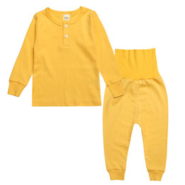 Wholesale Pijamas Boys - baby pijamas sets Long sleeve Belly protection tops High-waisted pant sets Solid cottton homewear 2016 autumn winter pajamas