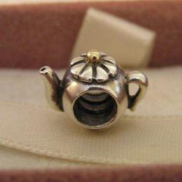 Wholesale Teapot Charm Gold - Silver and 14k gold Teapot Charm Beads Fit Pandora Bracelets Bangles Factory Wholesale