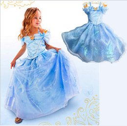 Wholesale Girl S Party Gowns - 2016 New Cinderella Girls Dress Blue Princess Costume Party Girl Ball Gown Dress Kids Girl Vestiodo Dress Diamond Party Dress