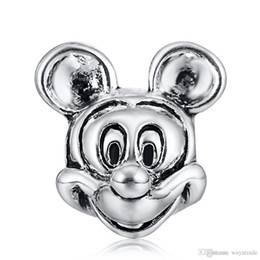 Wholesale Oval Chains - Wholesale Fashion Mickey Mouse Charm 925 Sterling Silver European Charms Floating Beads Fit Pandora Snake Chain Bracelets DIY Jewelry