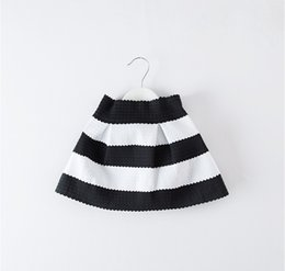 Wholesale Knee Length Girls White Pettiskirt - Autumn Children Girls Fashion Black White Striped Skirts Girls Korean Zipper Pettiskirt Clothes Daily Kids Short Skirt B4239