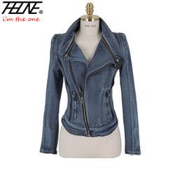 Al por mayor-Otoño Invierno Mujer Denim Jacket Jeans Coat Slim Long Sleeve Cremallera Casual Ladies Vintage Stretch Chaquetas cortas Outwear desde fabricantes