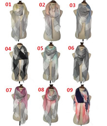 Wholesale Square Scarves Wholesales - New Women Fashion Big Squares Plaid Scarf Ms Thin Cotton And Linen Scarves Shawls Tartan Scarf 140*140cm 9 Color