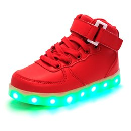 Wholesale Print Glow - 2016 Hot New Summer Children Breathable Sneakers Fashion Sport Led Usb Luminous Lighted Shoes for Kids glowing Boys Casual Girls Flats