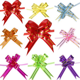 Wholesale Door Gift Wedding - 100pcs 8 Color Pull Bow Gift Wrap Wedding Car Decoration Ribbon Strip Decor Decorate Gift Wedding Car Door