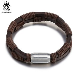 Wholesale Magnetic Gifts For Men - Stainless Steel Bracelets with Magnetic Buckle 2016 New Style Knitting Leather Cuff Bracelet for Women Men GTB46