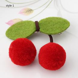 Wholesale Hair Cherries Clips - 2 style ! Sweet Cherry Shaped Bowknot Hairpins Leaf Hair Clip Ball Twist Barrette Hair Accessories For children Girl Headwear 50pcs