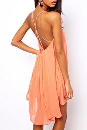 Wholesale Women S Sheer Robes - 2016 Robe Sexy Backless Sling Strap Back Chiffon Beach Dress for Women Robe Femme Vestido De Festa ladies clothing free shipping