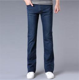 Wholesale Black Flare Pants Mens - High Quality New Men's Jeans Slim Bell-bottom Bootcut Pants Mens Elastic Nostalgic Blue Black Denim Flared Trousers